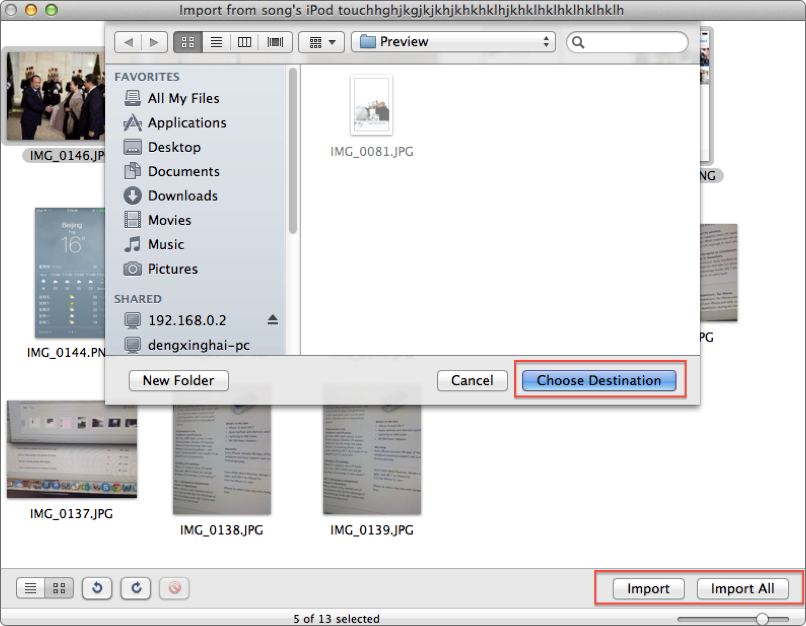 Transfer Photos from iPod touch to Mac with Preview - Step 4