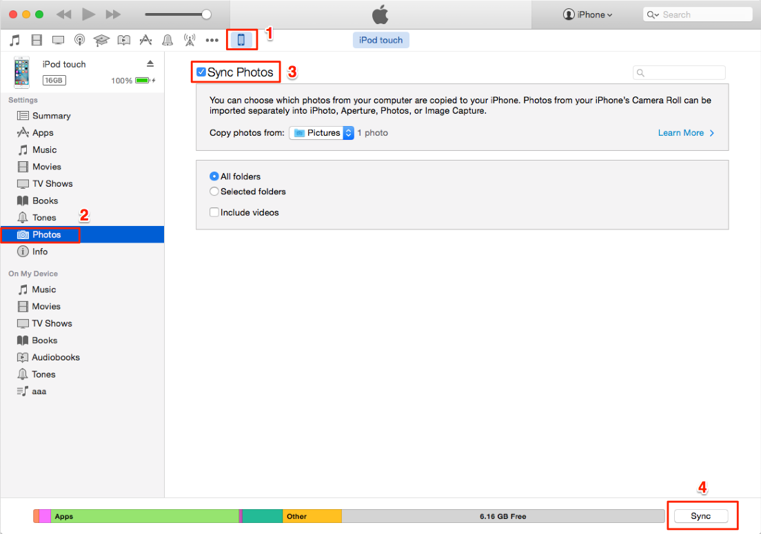 How to transfer photos from Mac to iPod with iTunes