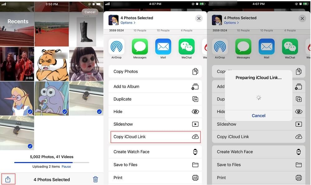 Copy iCloud Link to Transfer Photos from iPhone to iPhone