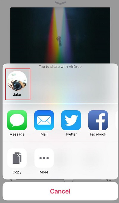 How to Transfer Playlist from iPhone to iPhone via AirDrop - Step 3