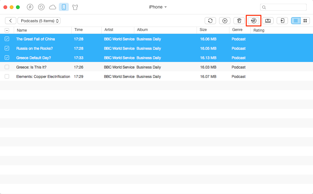 How to transfers Podcast from iPhone to iTunes – Step 3
