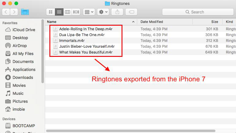 Check Exported Ringtones on Computer