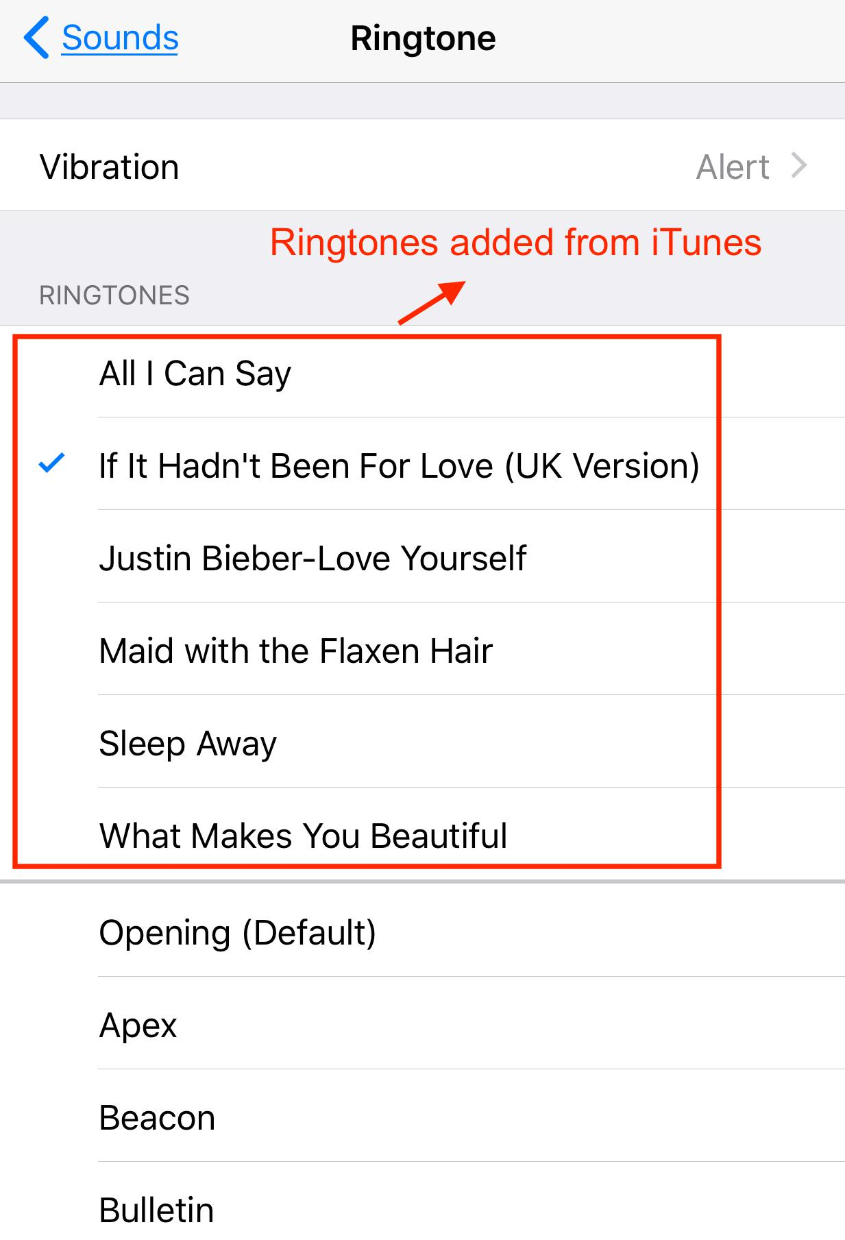 Check Transferred Ringtones on iPhone