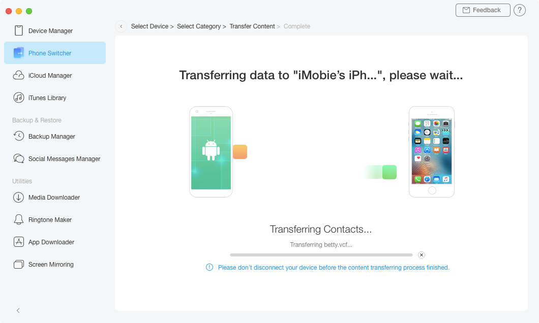 Transfer Videos from Samsung to iPhone – Step 3