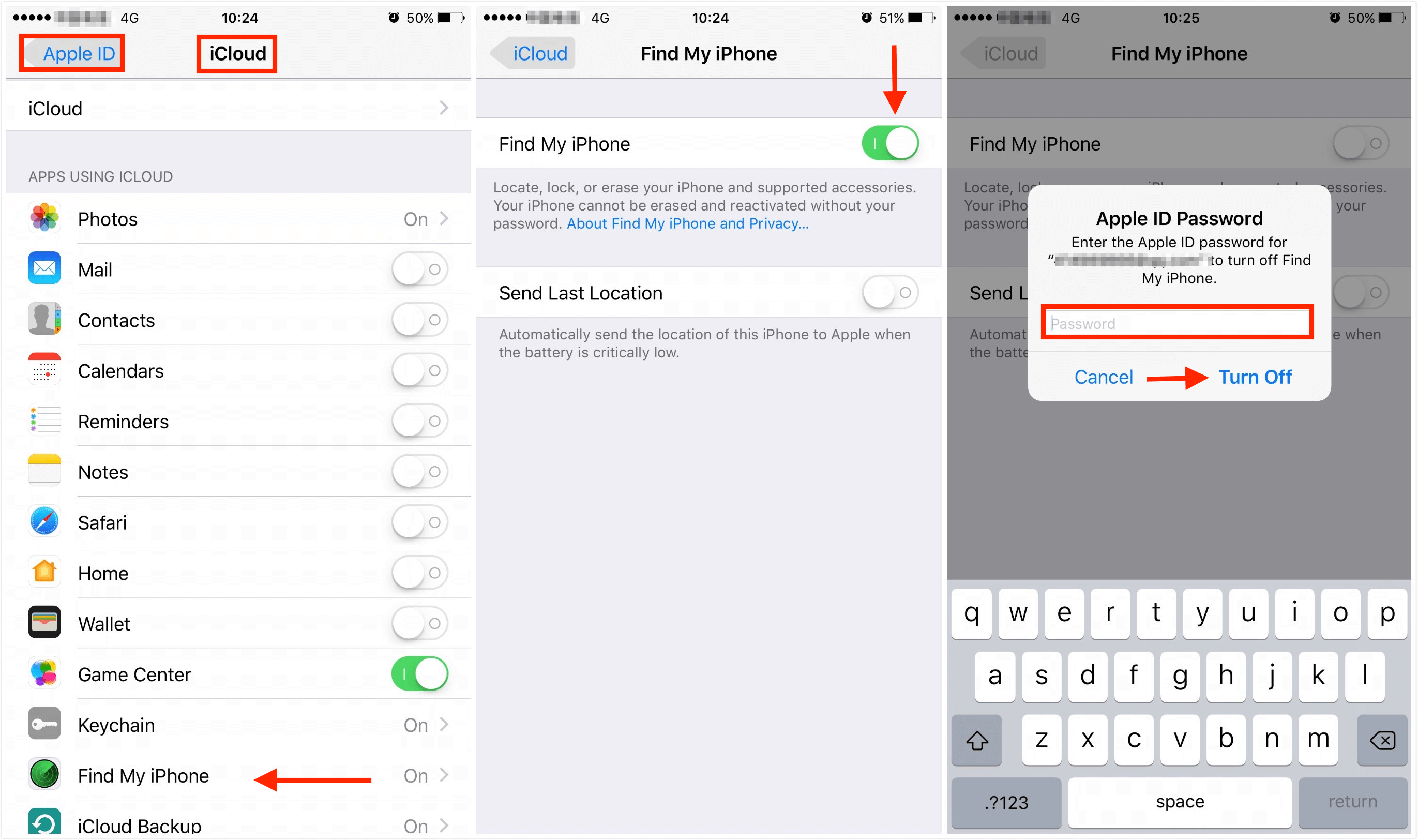 How to turn off find my iphone without apple id