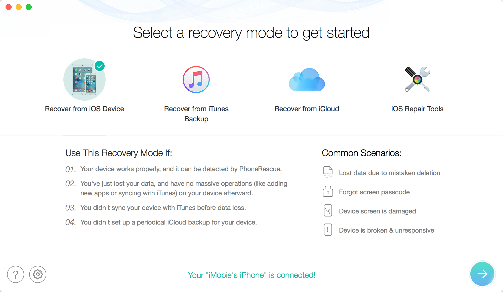 Recover Lost Data on iOS 10/9/8/7 with PhoneRescue