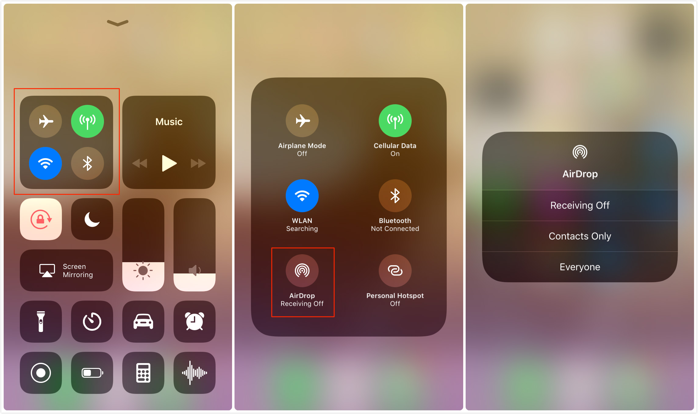 How to Turn on/off AirDrop in Control Center on iOS 11 - Screen Overview