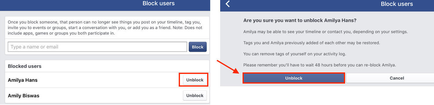 How to Unblock Someone on Facebook on Device - Step 4
