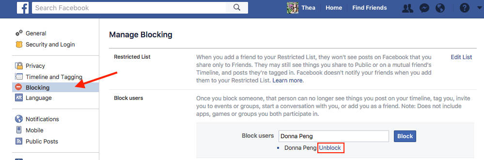 How to Unblock Someone on Facebook on Computer - Step 3