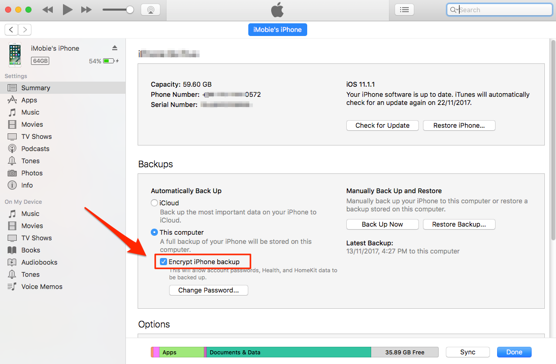 Uncheck iDevice Encrypt Backup Option in iTunes - Step 3