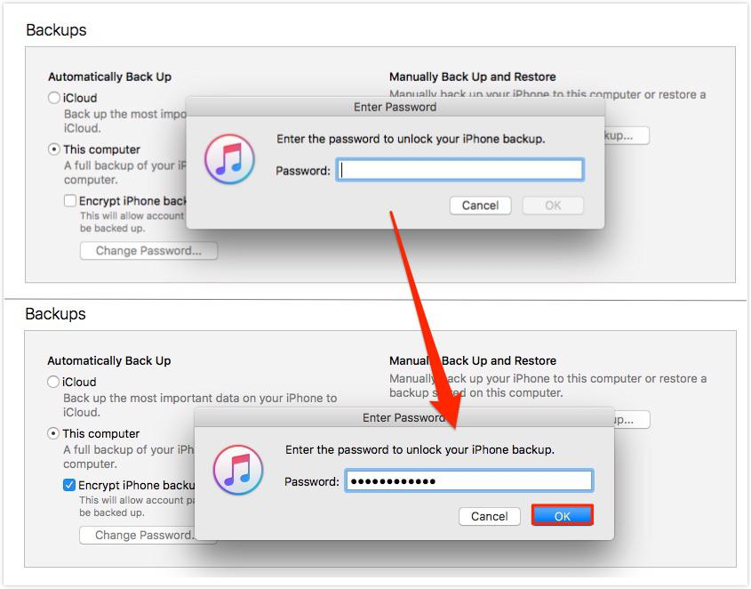 Uncheck iDevice Encrypt Backup Option in iTunes - Step 4