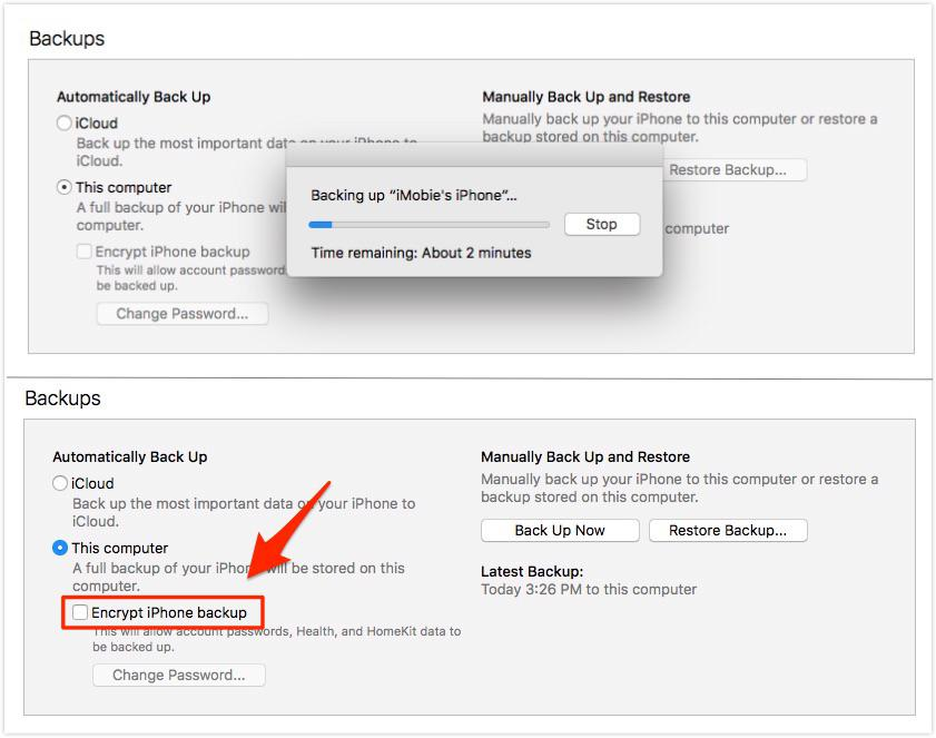 Uncheck iDevice Encrypt Backup Option in iTunes - Step 5