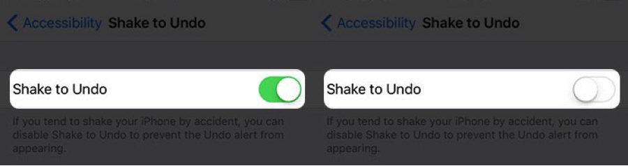 Turn off Shake to Undo