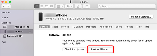 Restore the iPhone with iTunes or Finder