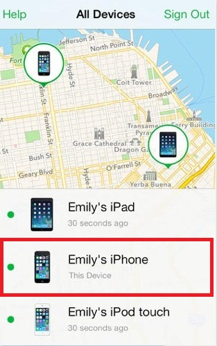 Unlock iPhone without Computer by Using Find My iPhone - Step 4