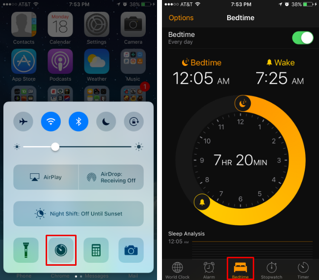 How To Use Bedtime Wake Up Alarm On Ios 10