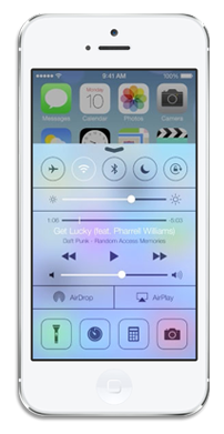 iOS 7 Control Center on iPhone