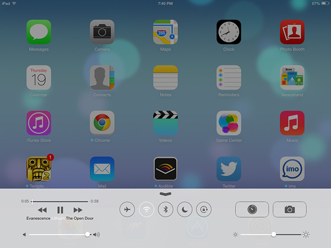 iOS 7 Control Center on iPad