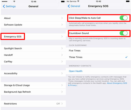 Use Emergency SOS in iOS 10.2 on iPhone