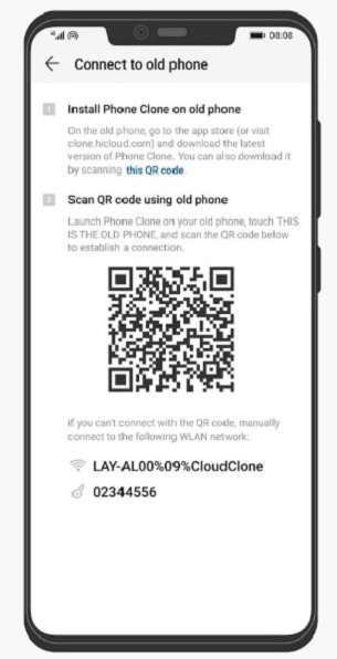 How to Use Phone Clone on Android - Step 2