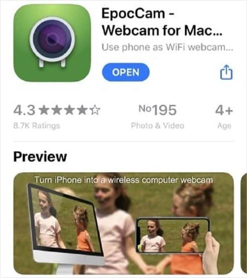 Use iPhone Camera as a Webcam via EpocCam