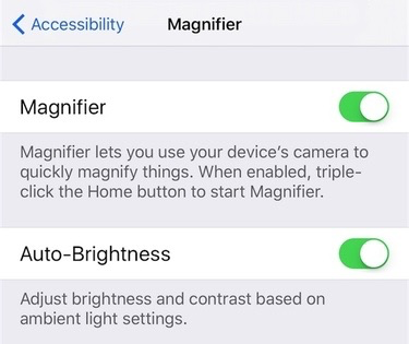 Turn on/off Magnifier in iOS 10