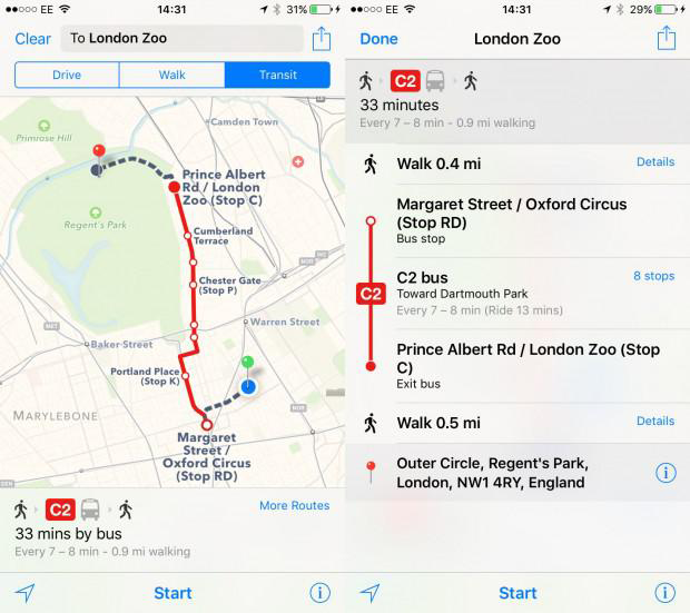 How to use Transit Directions in Maps in iOS 9