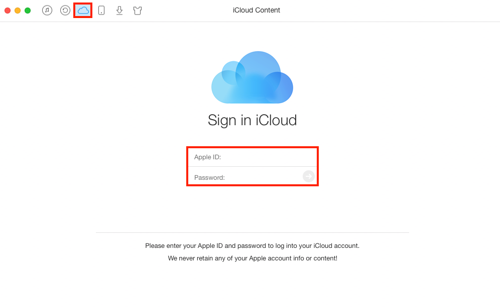 How to View iCloud Photos Online with AnyTrans - Step 1