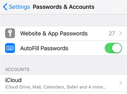 View Website & App Passwords