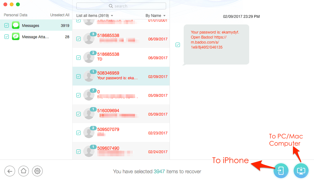 How to Access and View Text Messages in iCloud with PhoneRescue – Step 3