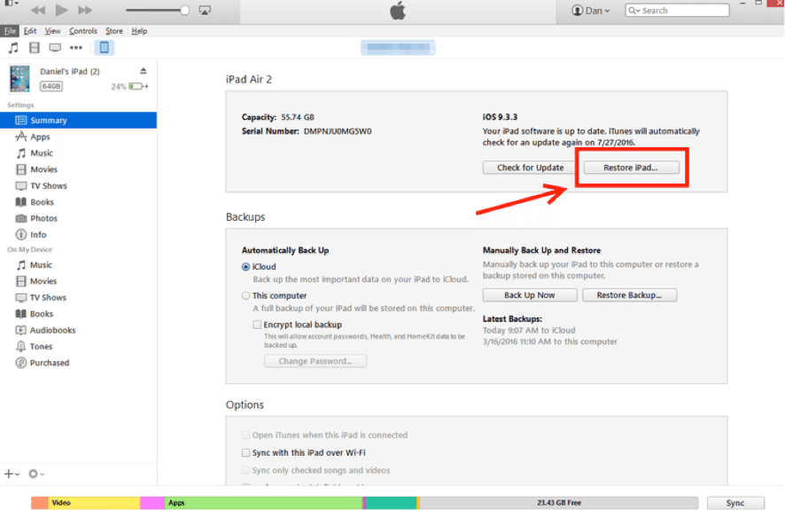 How to Erase iPad via iTunes