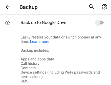 Back Up Android to Google