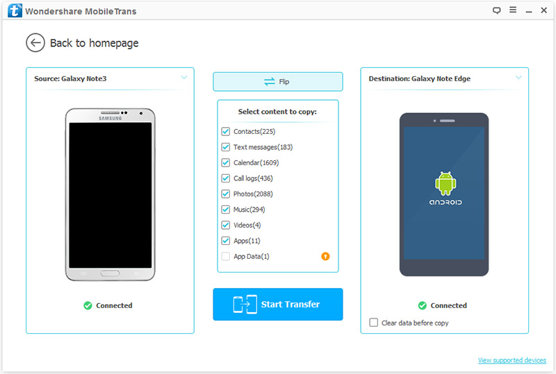 How to Transfer Contacts from Samsung to Samsung in 1 Click– Step 3