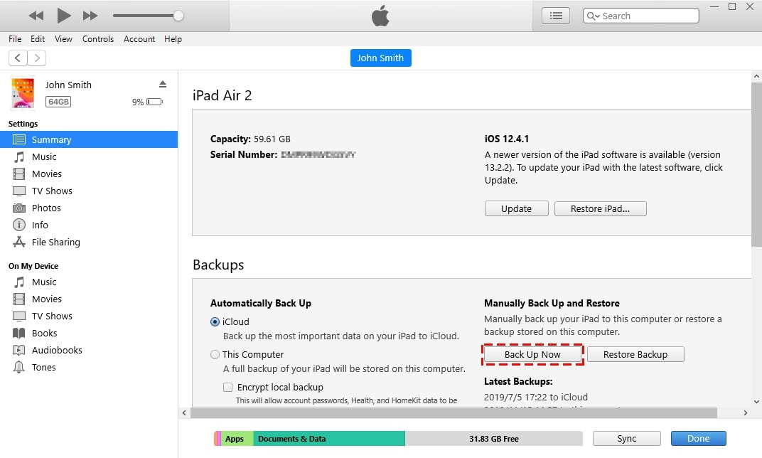 How to Transfer Data from iPad to iPad via iTunes- Step 1