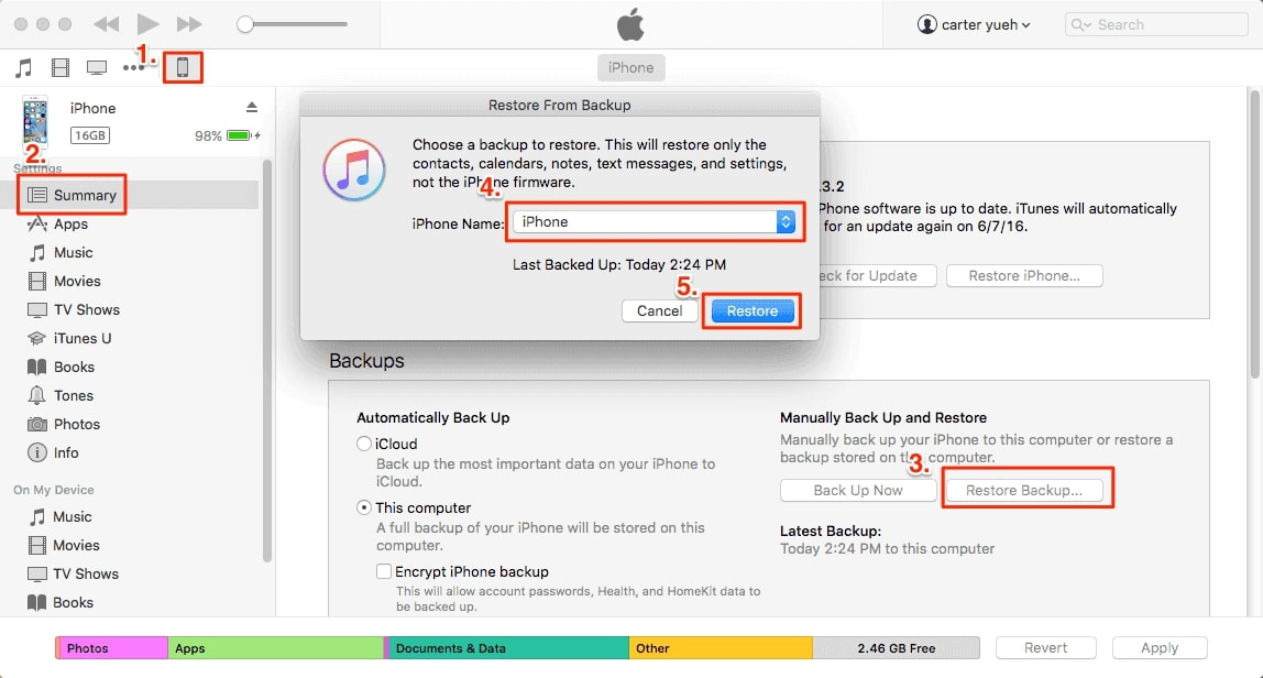 How to Transfer Data from iPad to iPad via iTunes- Step 2