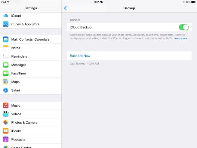 How to Transfer Data from iPad to iPad via iCloud- Step 1