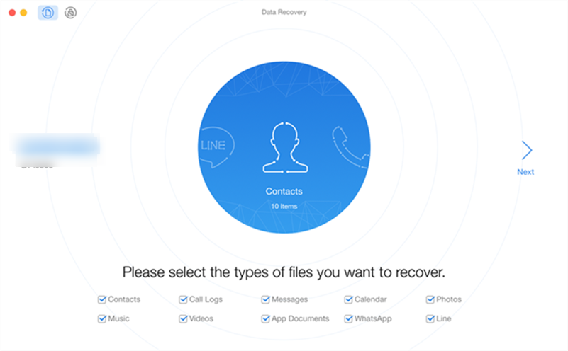 Choose the data type to recover from your phone