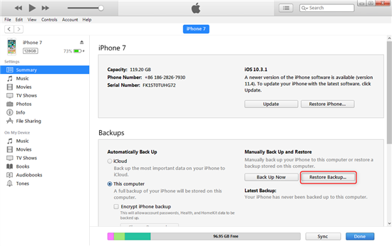 Recover the Missing iBooks from iTunes Backup – Step 2