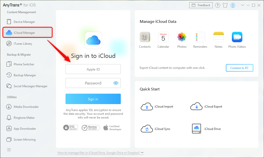 Tap iCloud Manager and Sign in to iCloud