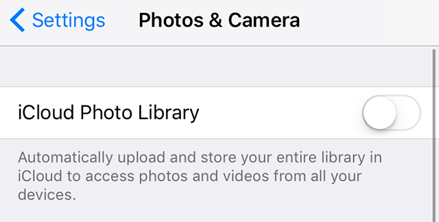Turn on iCloud Photo Library on your device