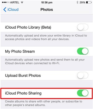 Enable iCloud Photo Sharing