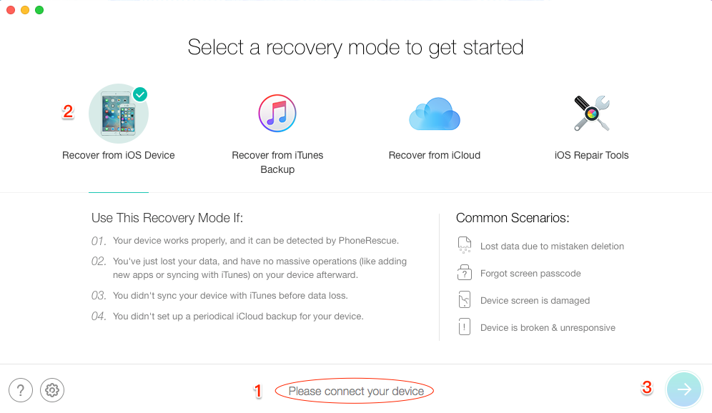How to Recover Deleted iMessage or Messages – Step 2