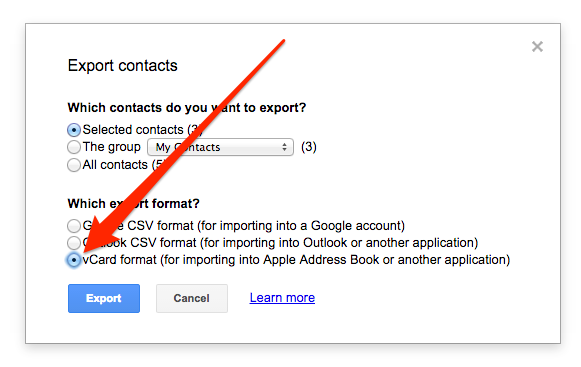 Set Export Format to vCard – Google Contacts