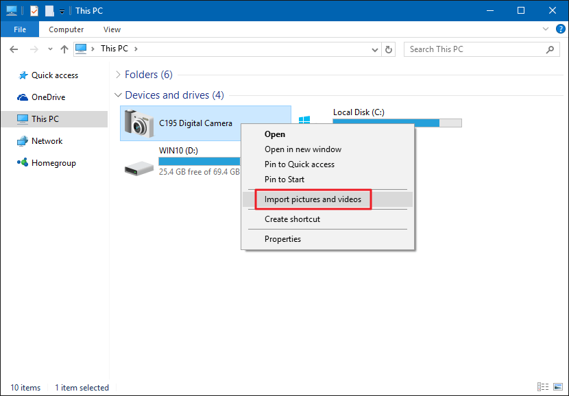Import Pictures and Videos with File Explorer