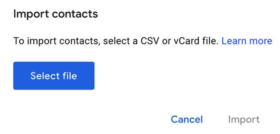 Import the vCard File into Google Contacts