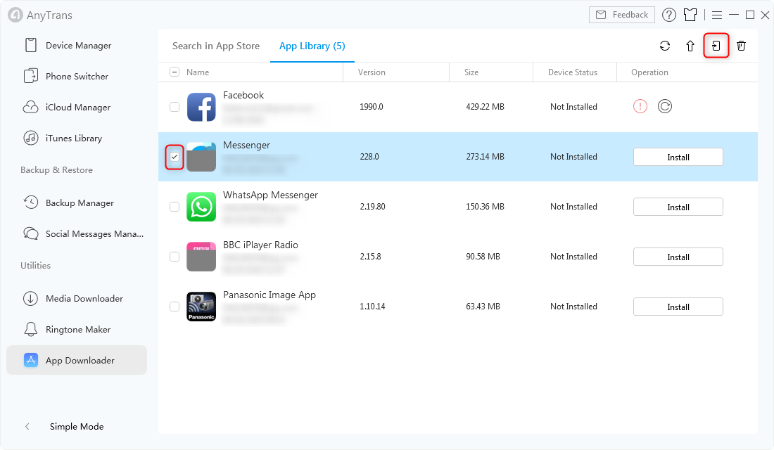 Install Messenger in AnyTrans for iOS - Step 4