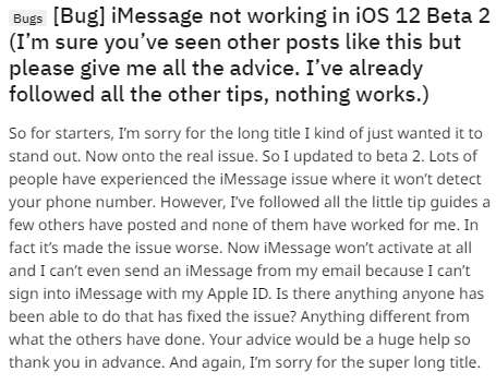 iOS 12/12.1 iMessage Bug