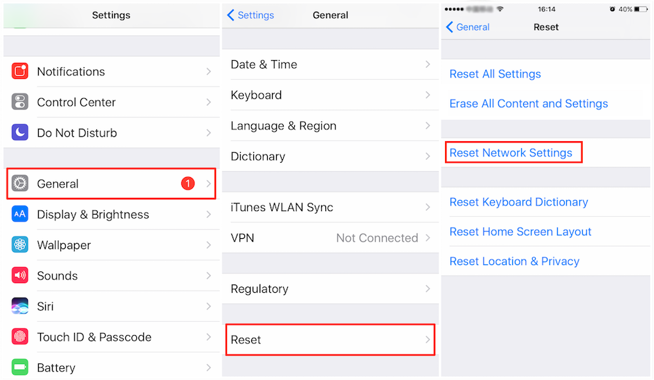 Fix Unable to Check for Update iOS 12 - Reset Network Settings