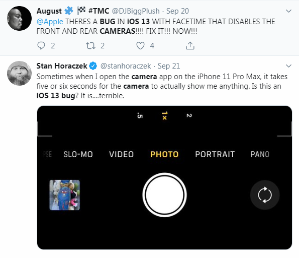iOS 13 Camera Bugs