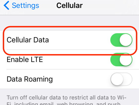 Turn off Cellular Data on iPhone